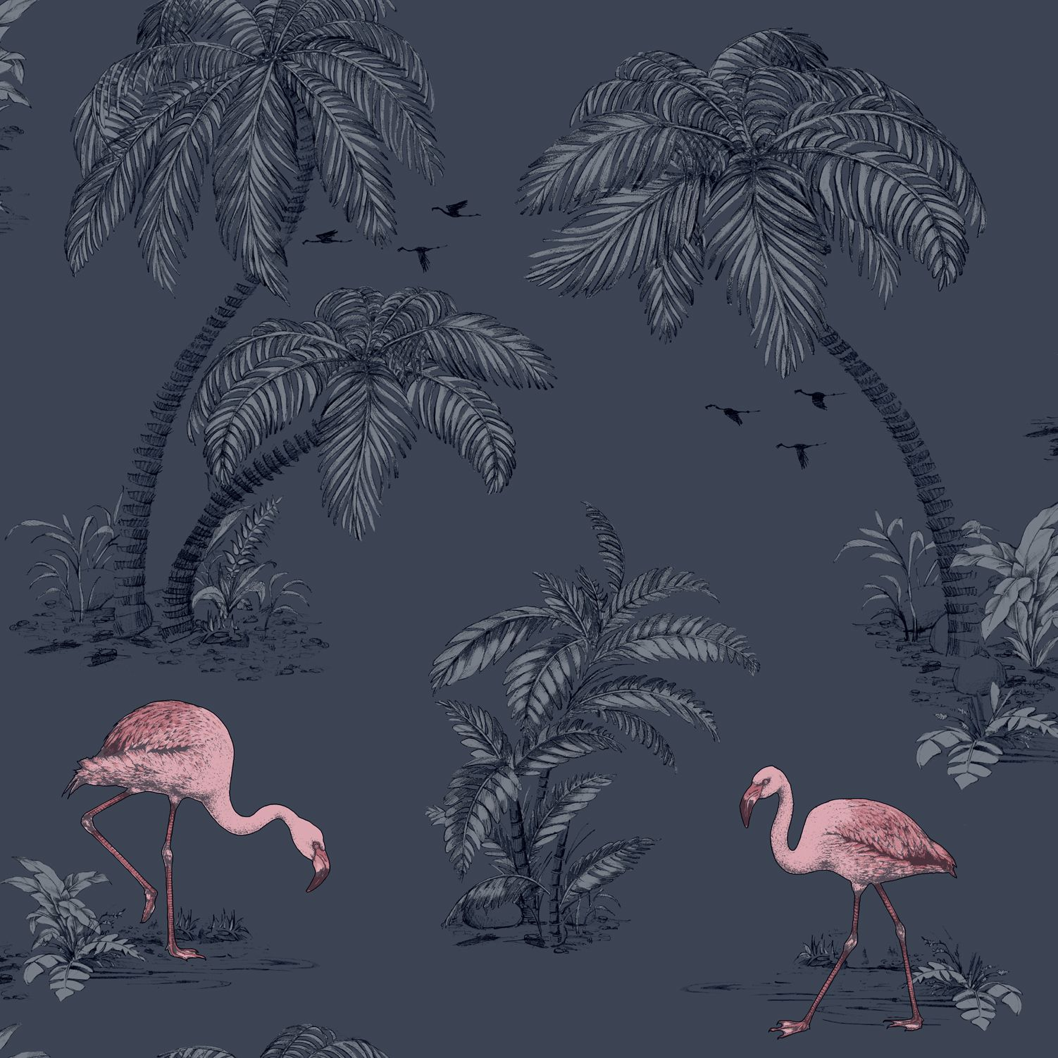 Tapetti Imaginarium 12382 Flamingo Midnight Blue Pink 0,53x10,05 m monivärinen paperitapetti