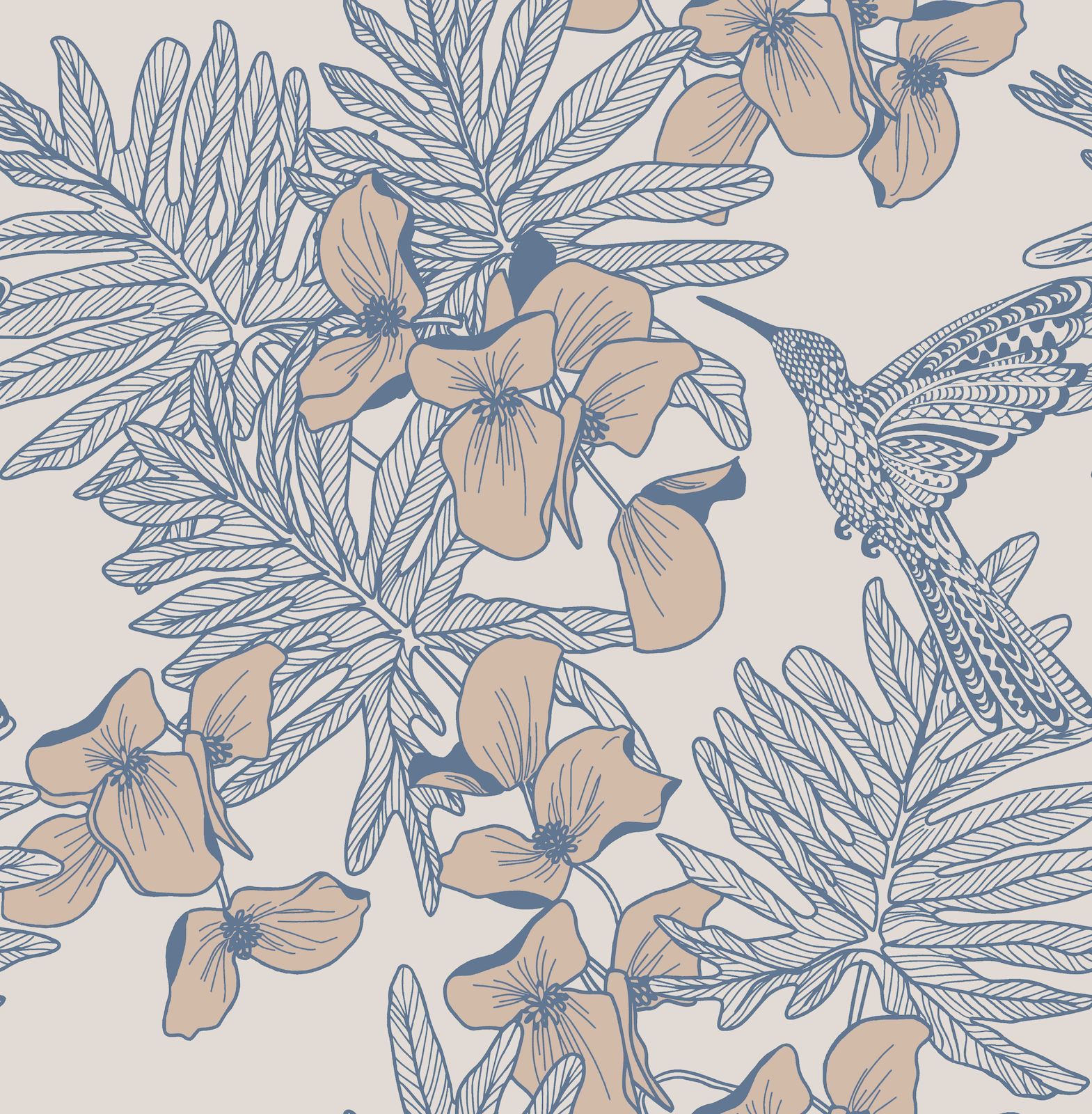 Tapetti 1838 Wallcoverings Hummingbird sinertävä 0,52x10,05 m