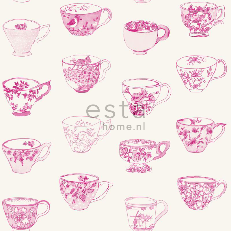 Tapetti Cup and Saucers 138154 0,53x10,05 m pinkki non-woven