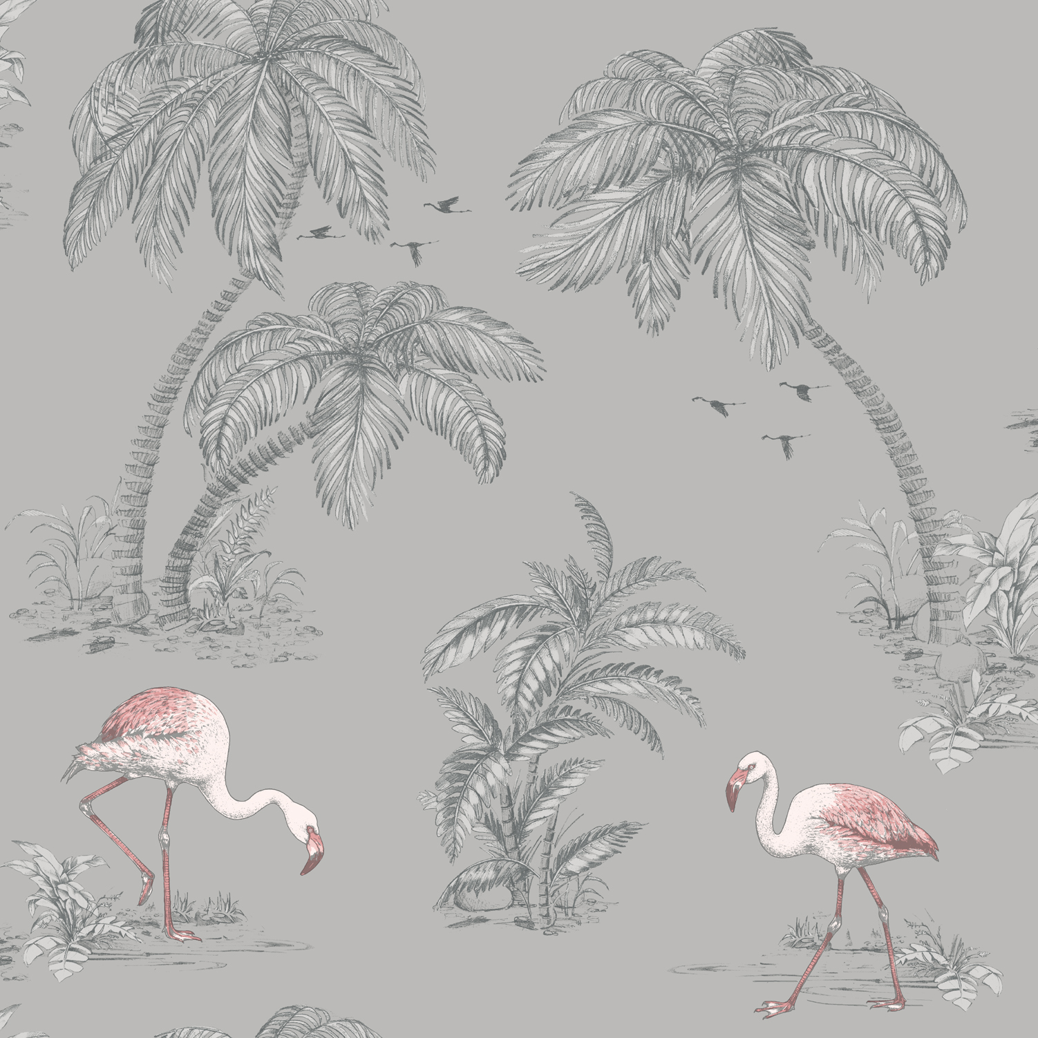 Tapetti Imaginarium 12381 Flamingo Grey 0,53x10,05 m monivärinen paperitapetti