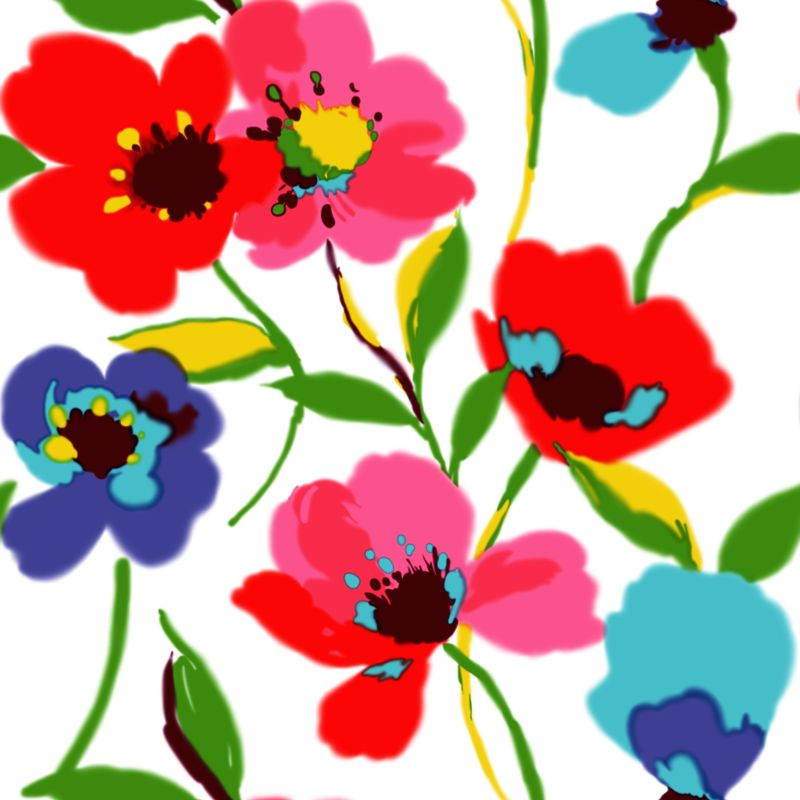 Tapetti Poppies 128027 0,53x10,05 m monivärinen non-woven