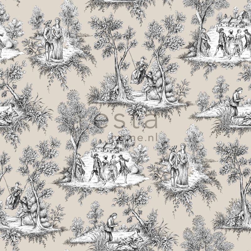tapetti toile de jouy 138106 0 53x10 05 m beige non woven. Black Bedroom Furniture Sets. Home Design Ideas