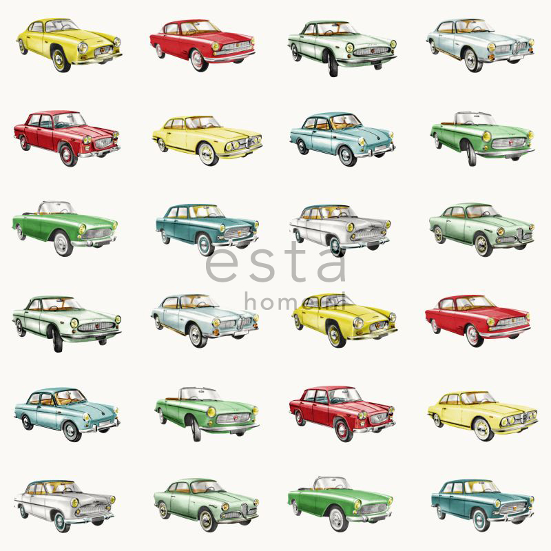 Tapetti Vintage Cars 138731 0,53x10,05 m monivärinen