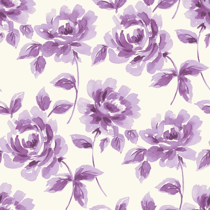 Tapetti Watercolor Painting Roses 128015 0,53x10,05 m purppura non-woven