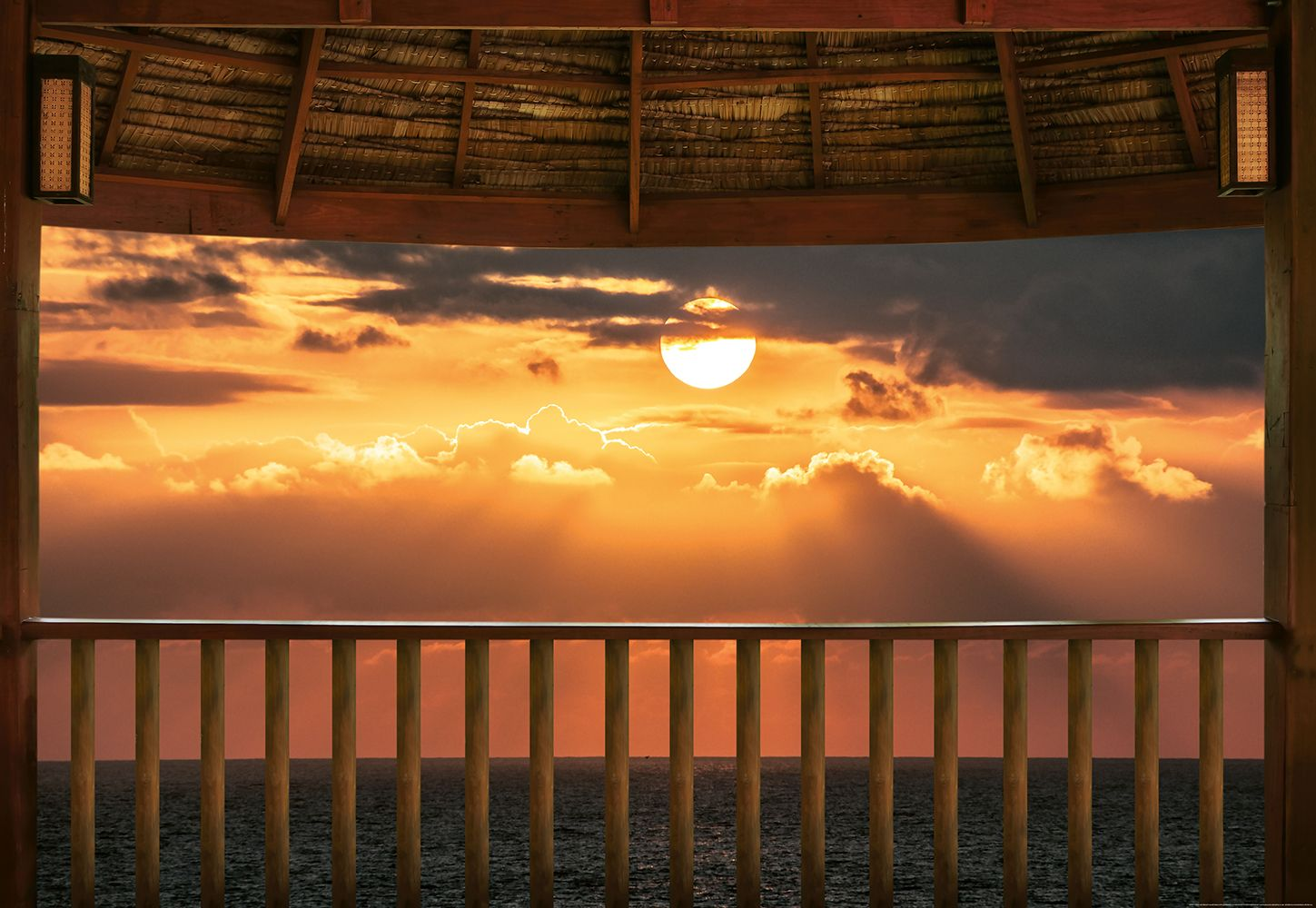 Valokuvatapetti Idealdecor Digital Ocean View Terrace At Sunset 4-osaa 5179-4V-1 254x368 cm