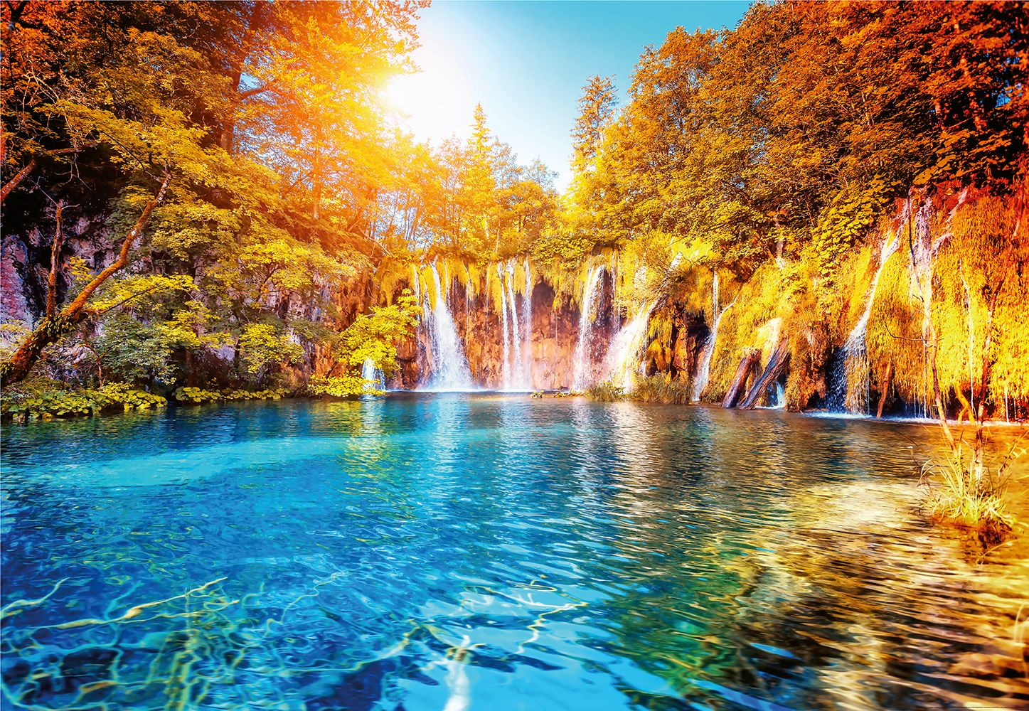 Valokuvatapetti Idealdecor Digital Waterfall And Lake In Croatia 4-osaa 5030-4V-1 254x368 cm