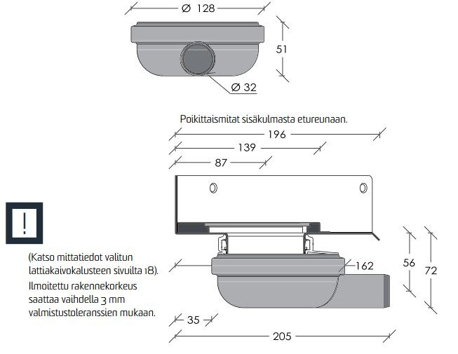 Viemärikaivo kulma 2301 vaaka 32 mm ilman vesilukkoa Unidrain  Taloon com