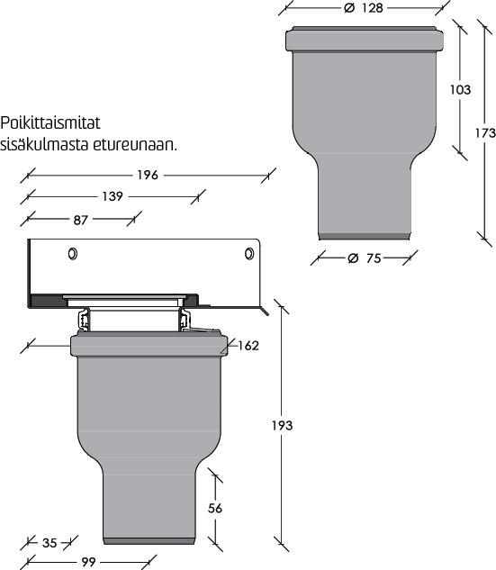 Viemärikaivo kulma 2412 pysty 75 mm vesilukolla Unidrain  Taloon com